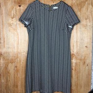 Calvin Klein chevron Midi shift Dress Size 14